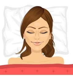 young brunette woman sleeping in bed at home vector image