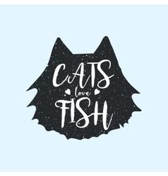 Cats love fish cute or fun t-shirt print design vector