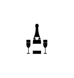 champagne bottle with wine glasses solid icon vector image