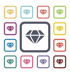 diamond flat icons set vector image vector image