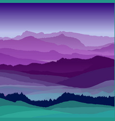 flat night landscape beautiful hills vector image