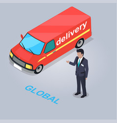 global delivery service isolated vector image vector image