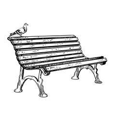 park bench engraving vector image