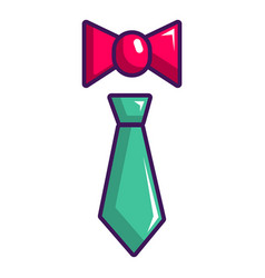 tie and bow tie icon cartoon style vector image