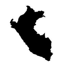black silhouette country borders map of peru on vector image