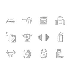 bodybuilding and fitness flat line icons vector image