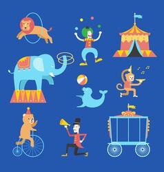 Circus theme icons set vector image