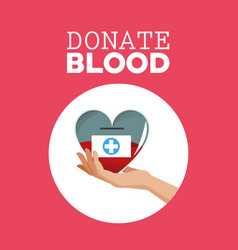 donate blood hand holding heart care vector image vector image