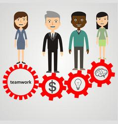 Flat style modern effective process teamwork vector