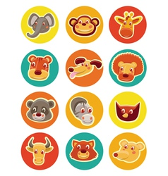 funny animal heads - set of vector image vector image