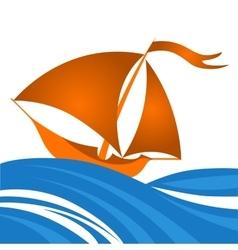 small sailing ship in ocean vector image