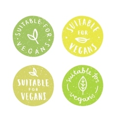 Suitable for vegans Set of vegan hand drawn vector image