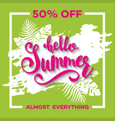 summer sale background with tropical palm leaves 6 vector image