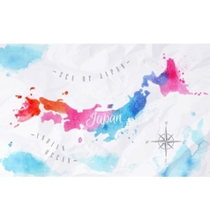 Watercolor map japan pink blue vector