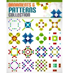Abstract geometric square patterns shapes set vector image