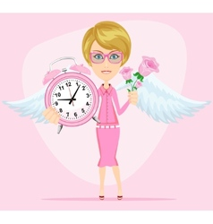 Angel holding time and flowers vector image vector image