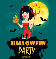 Devil girl for halloween party invitation sexy vector