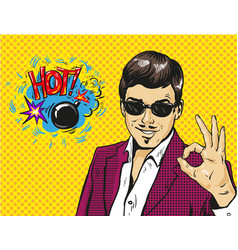 man smile and shows ok hand sign with speech vector image
