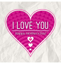 Mothers day greeting card with pink heart vector