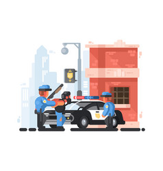 police station and patrol with detainee vector image