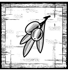 Retro olive branch black and white vector image