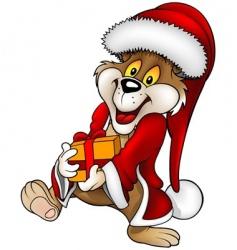 Santa bear and gift vector image