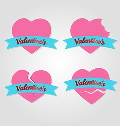 set of hearts badges and labels valentines day vector image vector image