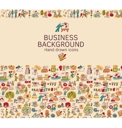 Business background doodles hand drawn color icons vector image vector image