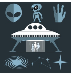 Digital silver and white cosmic ufo alien vector image vector image