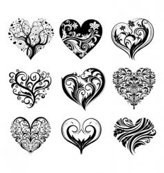set of 9 tattoo hearts vector image