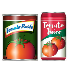 two canned food products from tomato vector image