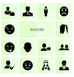 14 avatar icons vector