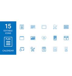 15 calendar icons vector