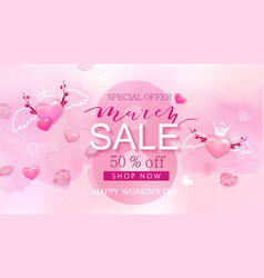 8 march sale banner with heart and sakura vector image