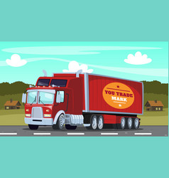 a large red trailer truck rides through vector image