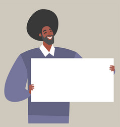 A young man holding blank paper vector