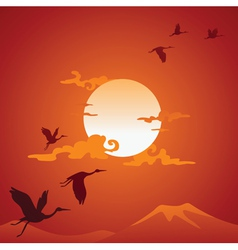 Abstract asian landscape with fly birds vector image