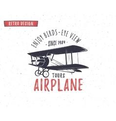 Airplane emblem Biplane label Retro Plane badges vector image