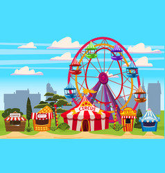 amusement park a cityscape with a circus vector image
