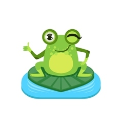 Approving Cartoon Frog Character vector image