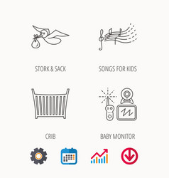 Bamonitor crib bed and songs for kids icons vector