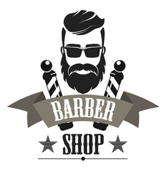 Barber shop retro label logo vintage emblem or vector