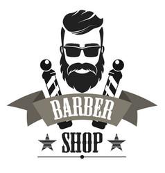Barber shop retro label logo vintage emblem vector