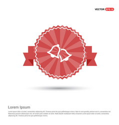 Bell icon - red ribbon banner vector