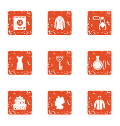 Bias icons set grunge style vector