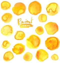 big set yellow watercolor stains vector image