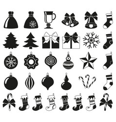 Black white 32 christmas elements silhouette set vector