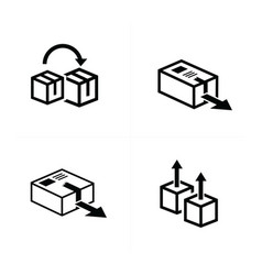 box and arrow icons set 4 item vector image