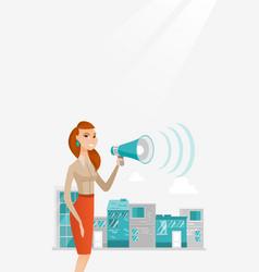 Business woman making public announcement vector