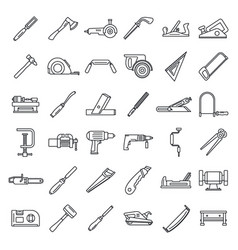 Carpenter working icon set outline style vector